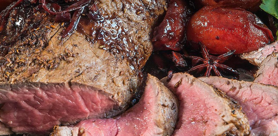 Roasted Fillet with Chunky Plums