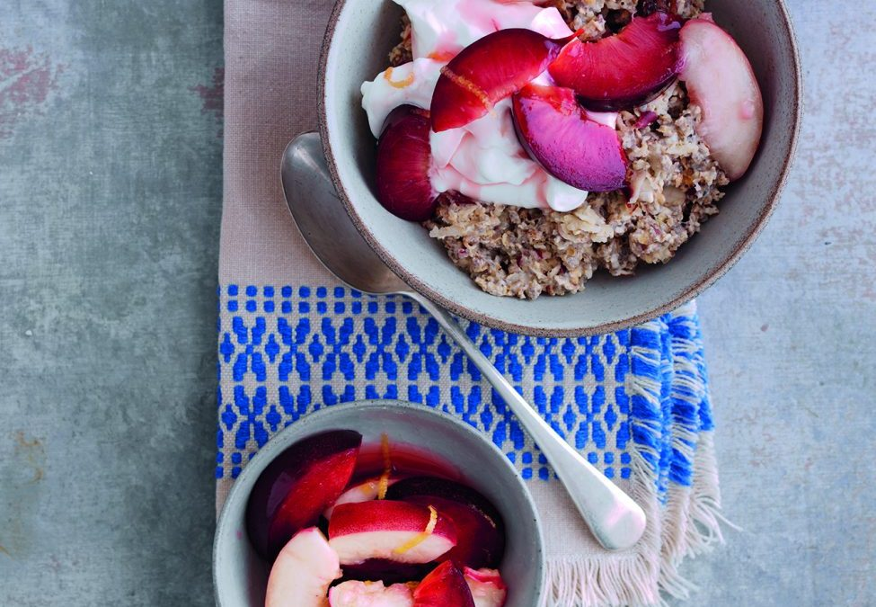 Western Cape Poached Peach and Plum Breakfast