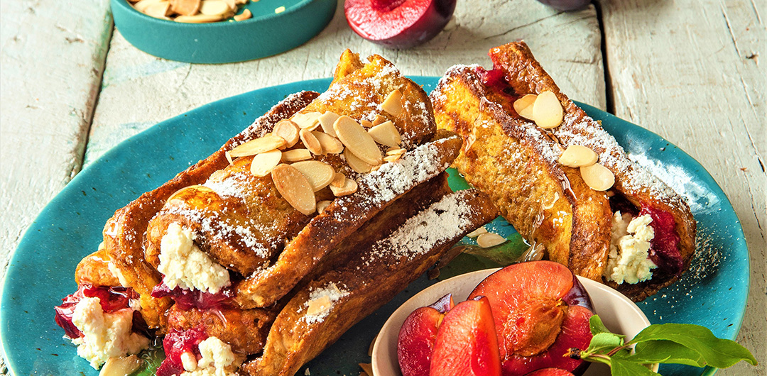 Rolled French Toast stuffed with Ricotta and Spicy Plums