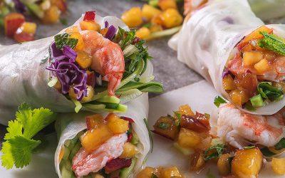 Prawn and Nectarinefilled  Vietnamese Spring Rolls