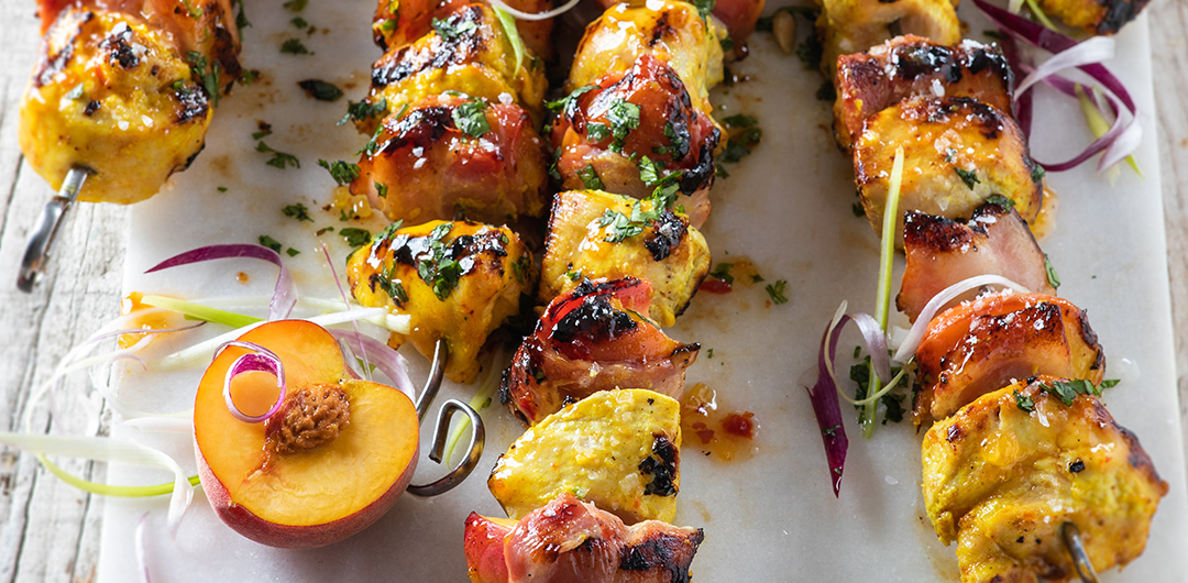 Peach Bacon and  Chicken Kebabs