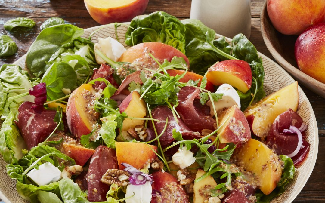 Dessert Peaches and Biltong Salad with Nutty Dressing