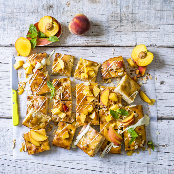 Peachy White Chocolate  Tray Bake